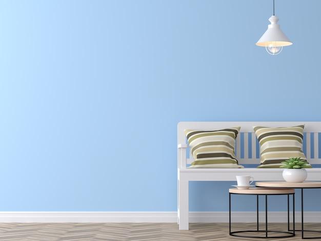 Современная винтажная гостиная с синей стеной 3d рендеринга