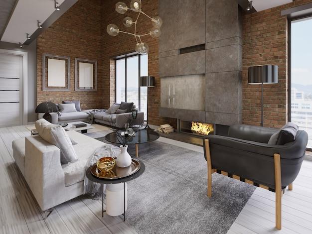 Современная винтажная гостиная квартиры чердака. 3d рендеринг