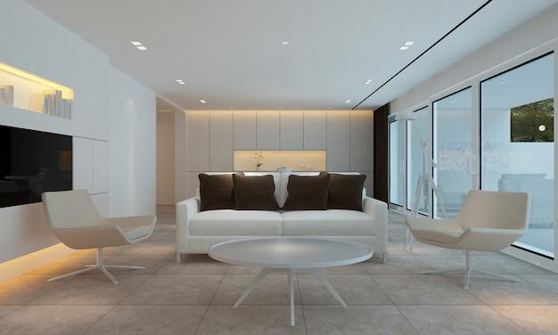モダンな壁のリビングルームにはソファと装飾があり、インテリアのモックアップ、3dレンダリング