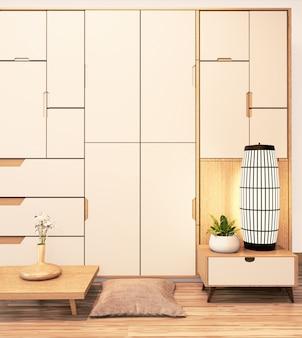 Современный настенный шкаф деревянный в японском стиле на пустой комнате минимальный интерьер. 3d рендеринг
