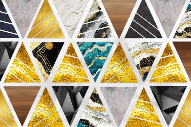 Современные обои декоративные треугольники с золотом и мрамором на светло-сером фоне