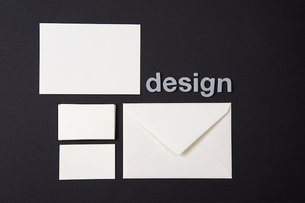 Modern wallpaper with white stationery items