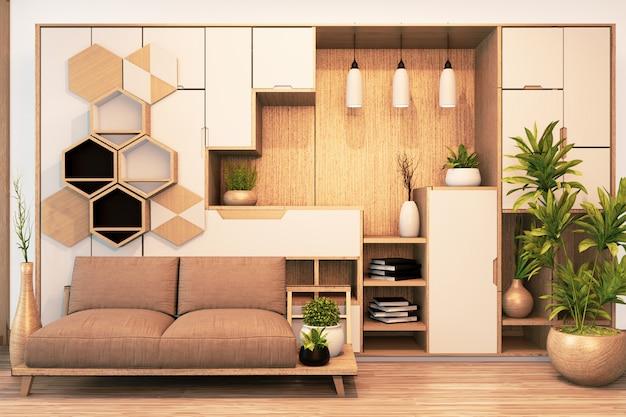 Современный гардероб деревянный в японском стиле и диван кресло деревянное на пустой комнате минимальный интерьер.3d рендеринг