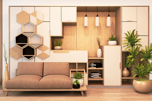 Modern wardrobe wooden japanese style and sofa armchair wooden on empty room minimal interior.3d rendering