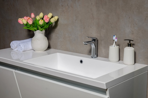 Modern washbasin in modern bathroom.