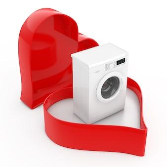 Современная стиральная машина в коробке дня святого валентина сердца на белом фоне. 3d рендеринг