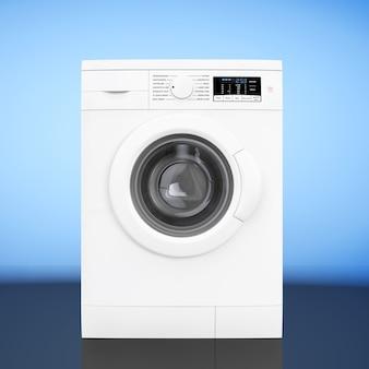 青い背景の上の現代の洗濯機。 3dレンダリング。