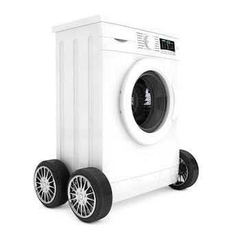 白い背景の上の車輪の上の現代の洗濯機。 3dレンダリング。