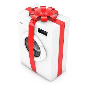 白い背景の上の贈り物として赤いリボンと弓を備えたモダンな洗濯機。 3dレンダリング。