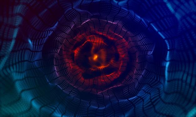 Modern wave circle effect 3d blue background