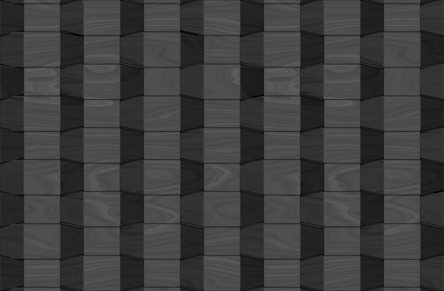 Modern weaving dark black wood square panel tiles wall background