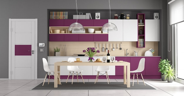 Современная бело-фиолетовая кухня