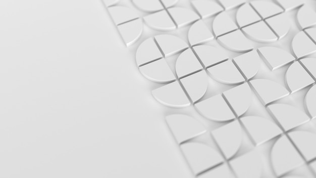 Modern white background with swiss styled semicircular 3d elements pattern