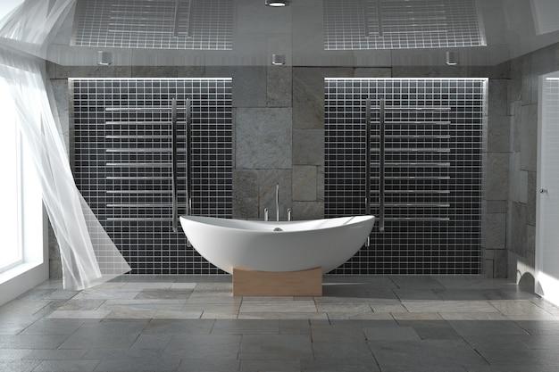 욕실 인테리어 극단적인 근접 촬영에 현대 흰색 욕조입니다. 3d 렌더링