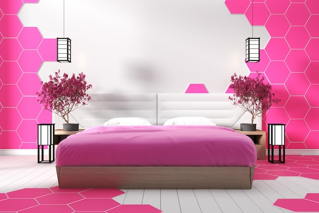 Modern white bedroom design pink hexagon tile - zen style .3d rendering
