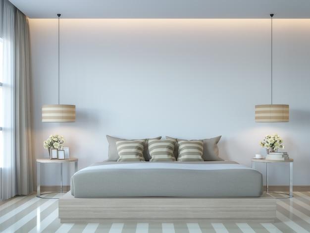 현대적인 흰색 침실 최소 스타일 3d 렌더는 밝은 톤의 빈 벽으로 방을 장식합니다