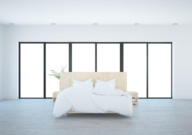 Современная белая спальня с панорамным видом из окна