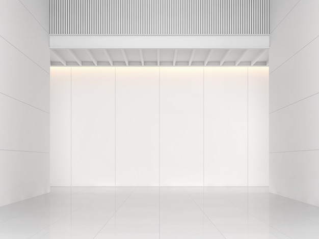 Modern white building interior space background concept 3d illustration and rendering.