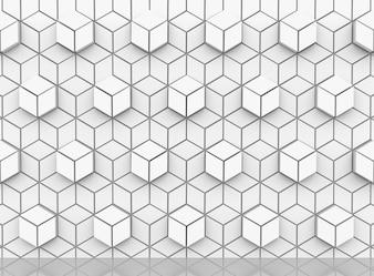 キューブ形状の壁の背景に現代的な白い六角形。