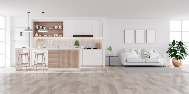 Современный белый домашний интерьер, гостиная и кухонная комната