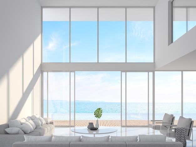 海の景色を望むモダンな白い家のインテリア3dレンダリングテラスとスイミングプールを見下ろす