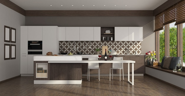 Современная белая кухня с островом, обеденным столом и большими окнами - 3d визуализация