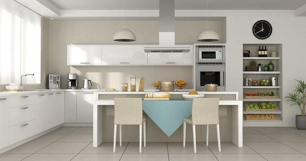 島とモダンな白いキッチン