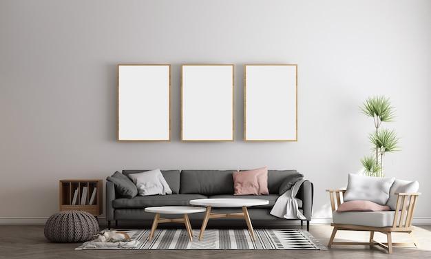 Дизайн интерьера современной белой гостиной с отделкой и пустой макет фоторамки 3d-рендеринга, 3d-иллюстрации