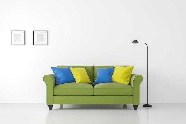 Интерьер современной белой гостиной с красочным диваном, 3d рендеринг, белые пустые стены и пол