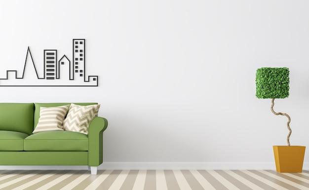 Интерьер современной белой гостиной с зеленым диваном, 3d визуализация белой пустой стены и коричневого пола