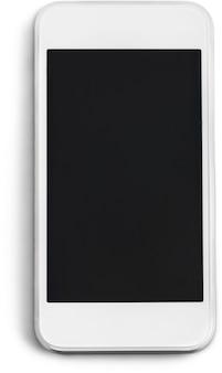 Современный белый мобильный смартфон с изолированным пустым экраном