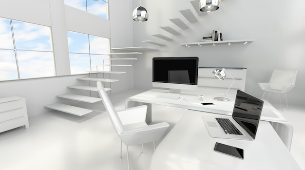 Modern white office interior with computer and devices 3d rendering