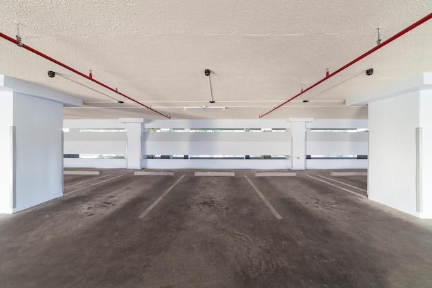 Modern white parking garage interior