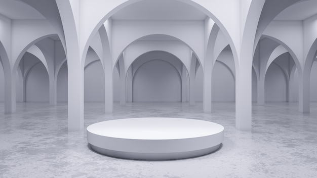 Modern white room , with white stage,3d render