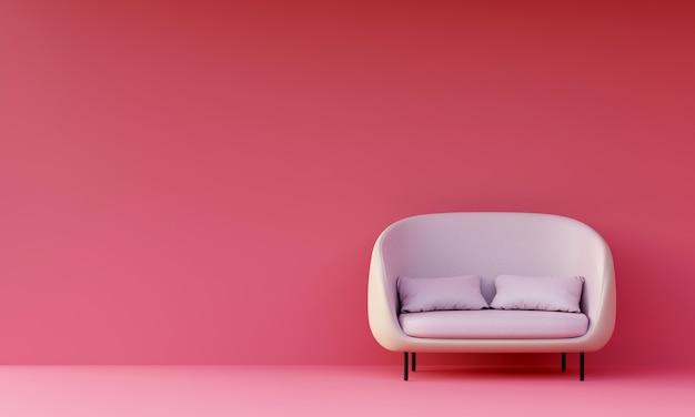 ピンクのリビングルームでモダンな白いソファ。 3dレンダリング。