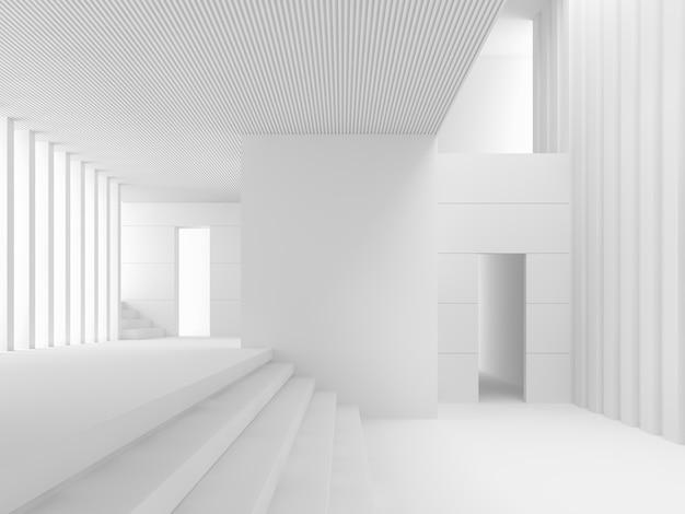 Современный белый интерьер 3d визуализации - это белая комната со многими уровнями, соединенными лестницей