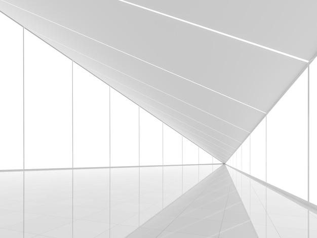 Современное белое пространство, интерьер, 3d визуализация, треугольная форма, естественный свет, проникающий в комнату
