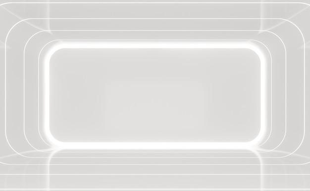 Современный белый интерьер с фоном 3d-рендеринга в комнате есть глянцевый материал и скрытый свет