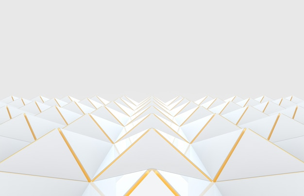 Modern white triangle grid with golden edge pattern design floor on gray background.