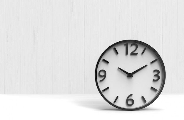 Modern white victory time clock on wooden floor wall background.
