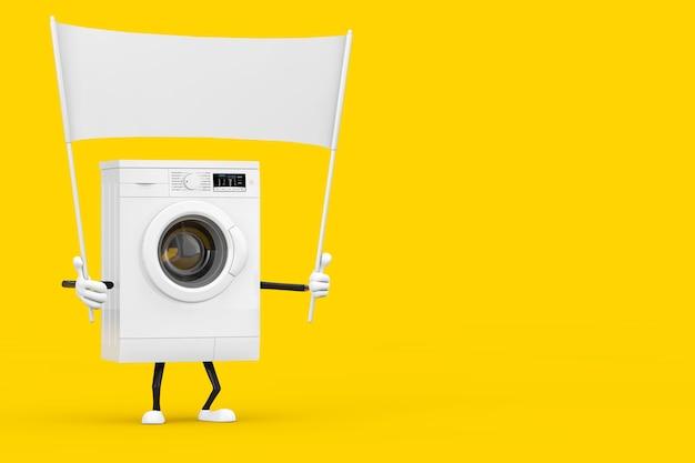 黄色の背景にあなたのデザインのための空きスペースを持つモダンな白い洗濯機のキャラクターマスコットと空の白い空白のバナー。 3dレンダリング