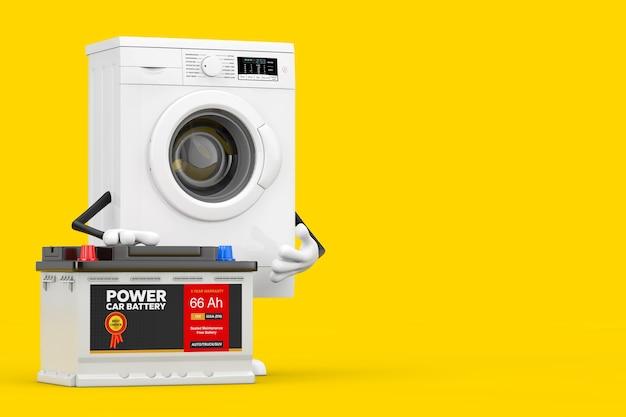 Современный белый талисман характера стиральной машины и аккумулятор 12 в автомобильного аккумулятора с абстрактной этикеткой на желтой предпосылке. 3d рендеринг