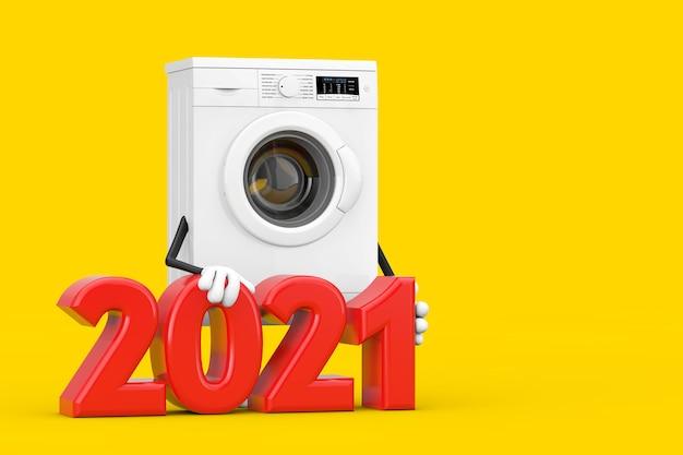 黄色の背景に2021年の新年のサインが付いたモダンな白い洗濯機のキャラクターマスコット。 3dレンダリング