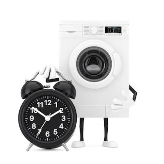 白い背景に目覚まし時計付きのモダンな白い洗濯機のキャラクターマスコット。 3dレンダリング