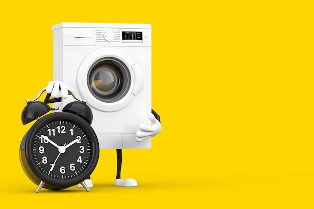 黄色の背景に目覚まし時計付きのモダンな白い洗濯機のキャラクターマスコット。 3dレンダリング