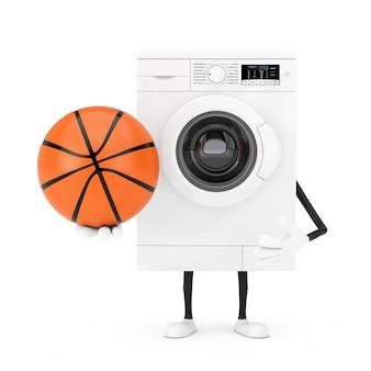 白い背景の上のバスケットボールボールとモダンな白い洗濯機のキャラクターマスコット。 3dレンダリング