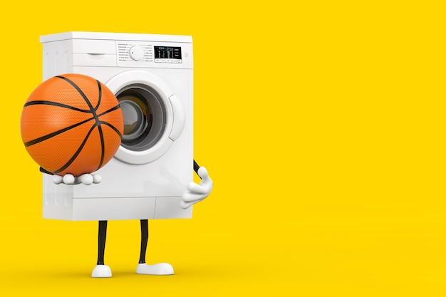 黄色の背景にバスケットボールボールとモダンな白い洗濯機のキャラクターマスコット。 3dレンダリング