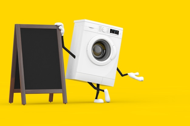 黄色の背景に空白の木製メニュー黒板屋外ディスプレイとモダンな白い洗濯機のキャラクターマスコット。 3dレンダリング