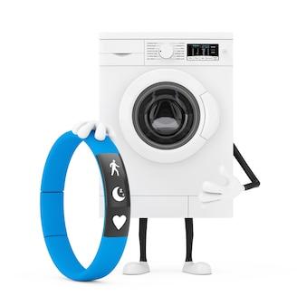 白い背景に青いフィットネストラッカーとモダンな白い洗濯機のキャラクターマスコット。 3dレンダリング