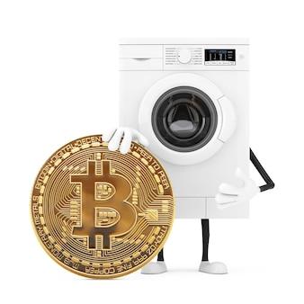 白い背景にデジタルと暗号通貨のゴールデンビットコインコインを備えたモダンな白い洗濯機のキャラクターマスコット。 3dレンダリング